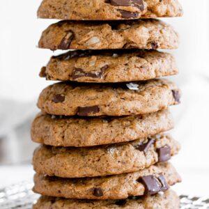 Vegan Chocolate Chunk and Tahini Oatmeal Cookies Stack