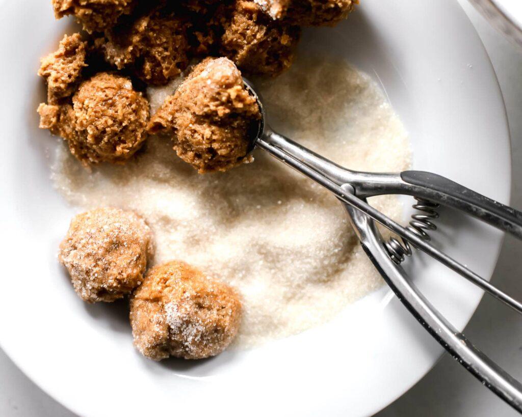 Healthier Peanut Butter Cookies dough balls in sugar