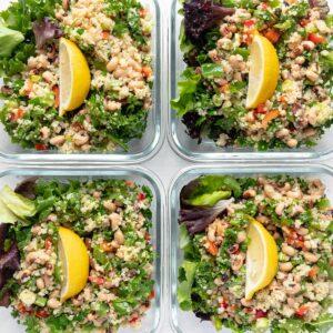 Easy Quinoa Salad Lunch Bowls, 4 bowls