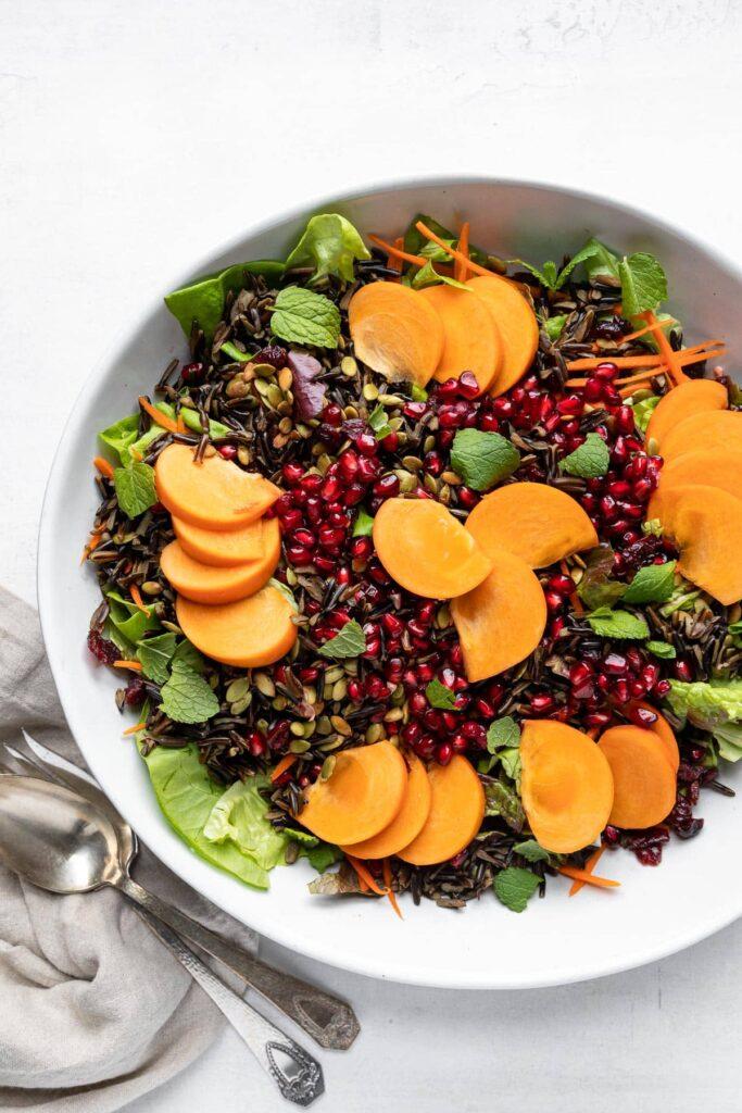 Wild-Rice-Holiday Salad Full Salad with serveware