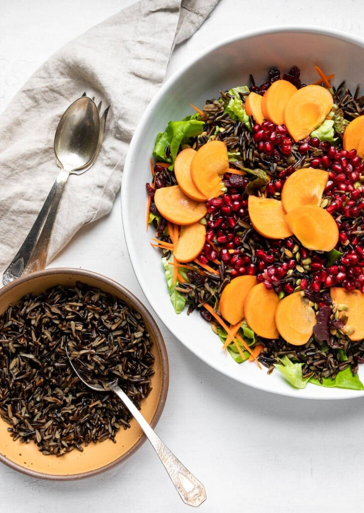 Wild rice holiday salad with extra wild rice on side