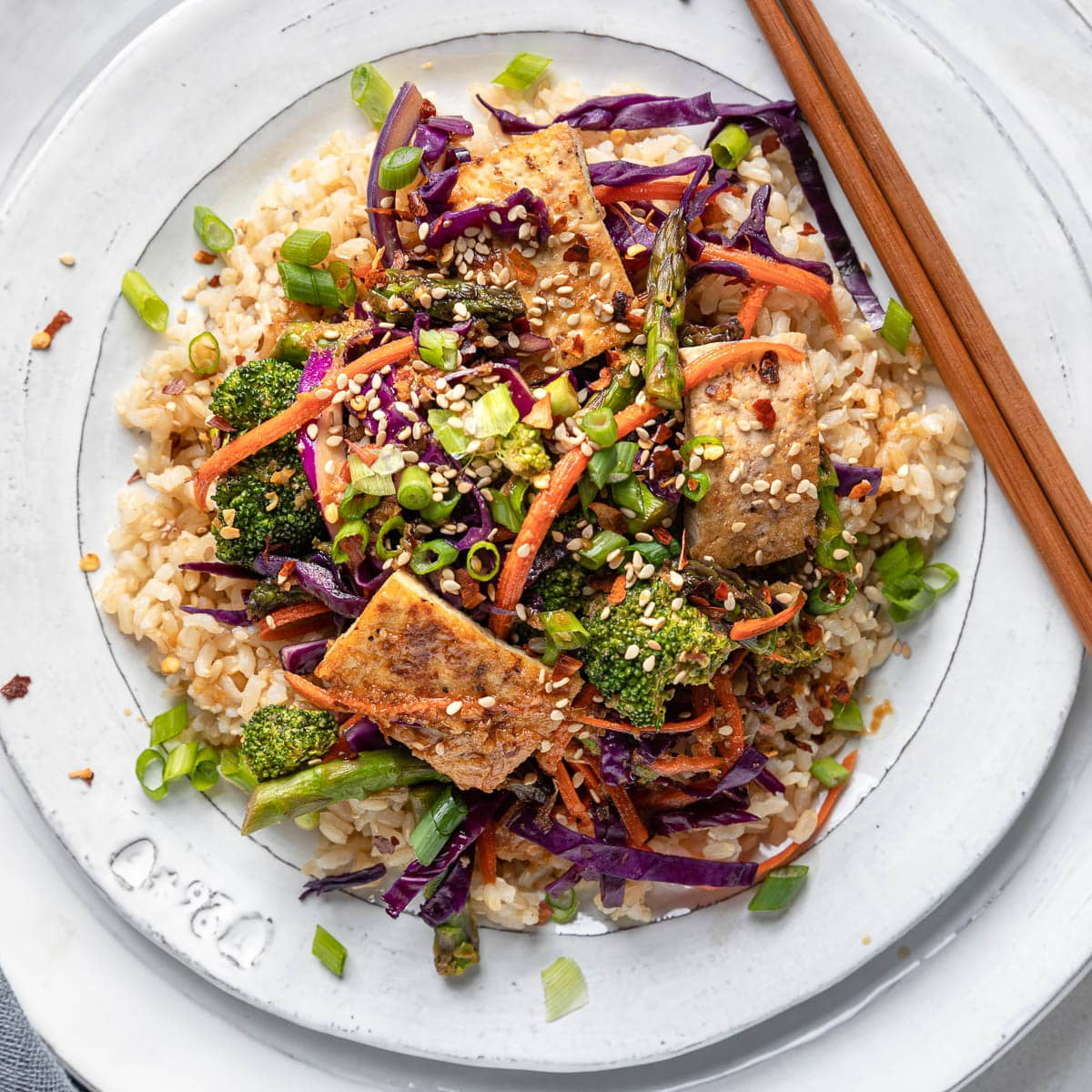 Honey and Ginger Tofu Stir Fry with Brown Rice