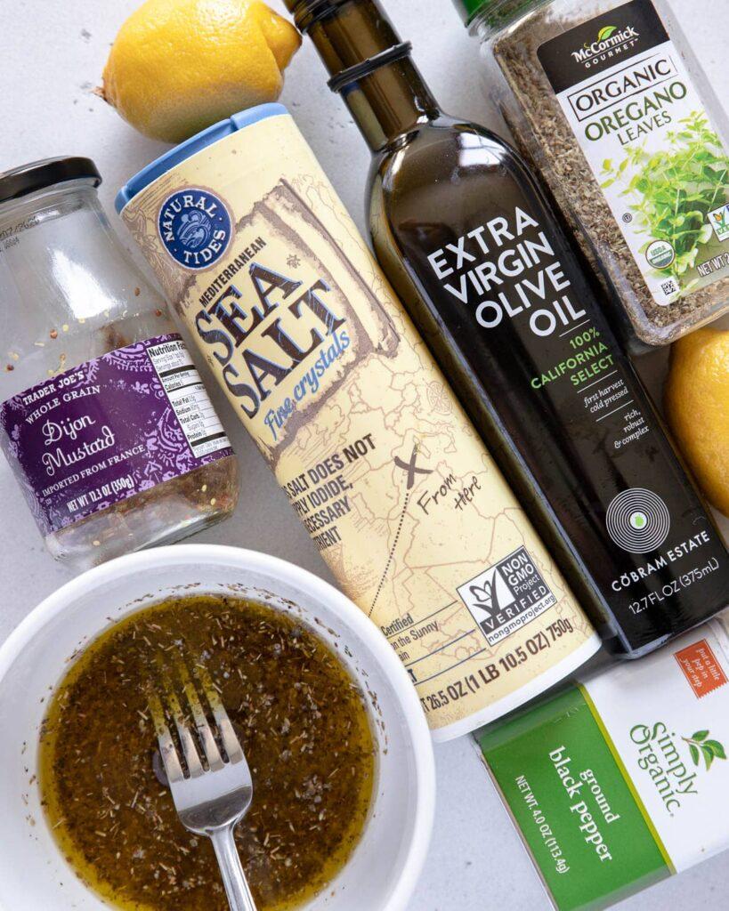 dressing ingredients, olive oil, lemon, oregano, dijon, kosher salt, pepper
