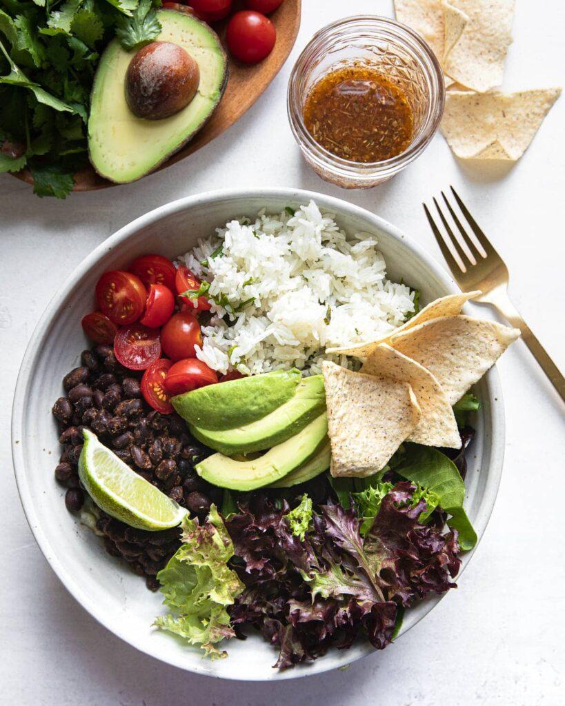 vegetarian burrito bowls with dressing