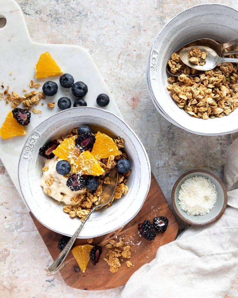 Easy Healthy Granola Recipe, yogurt bowl