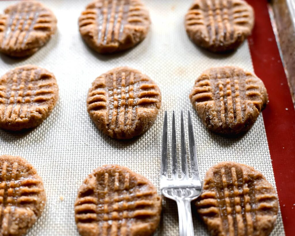 Cookies pressed with a fork
