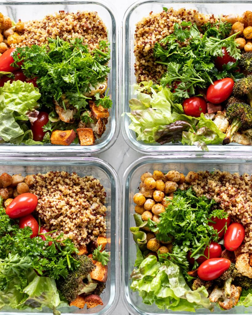 four roasted veggie lunch bowls