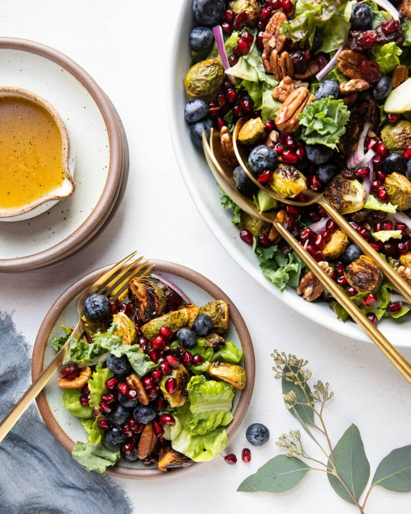 maple roasted brussels sprouts salad served on a plate