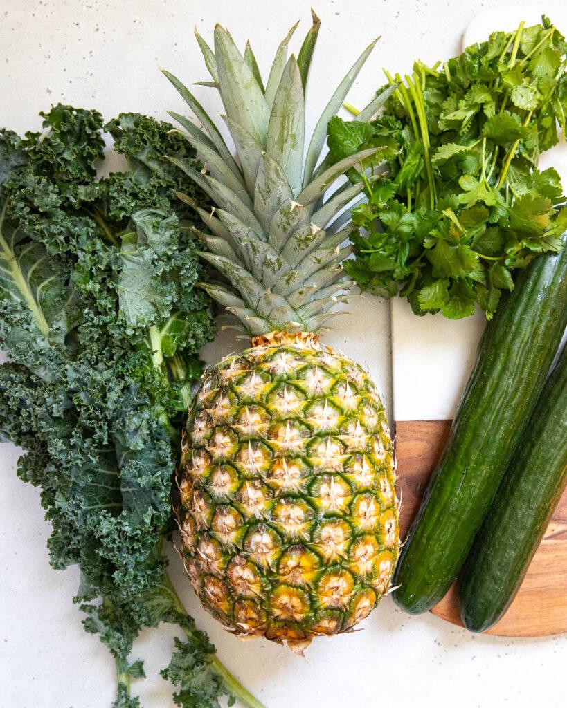 kale, pineapple, cilantro, cucumber