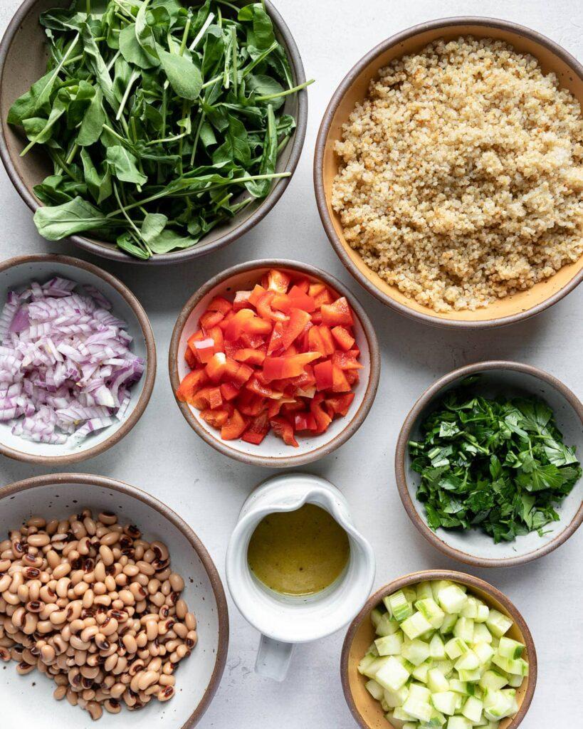 quinoa arugula and black-eyed peas salad ingredients
