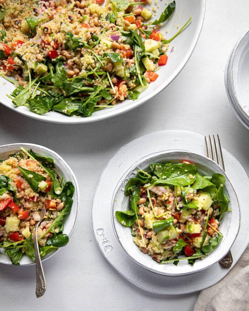quinoa arugula and black-eyed peas salad