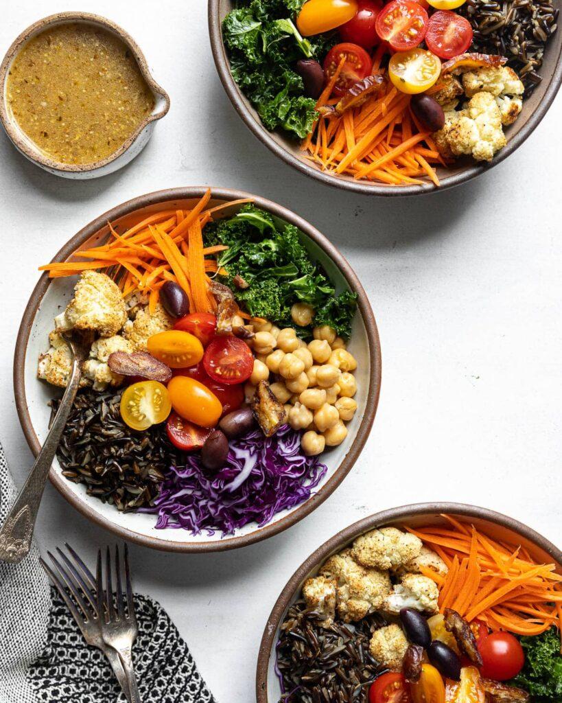 3 Wild Rice Mediterranean Bowls